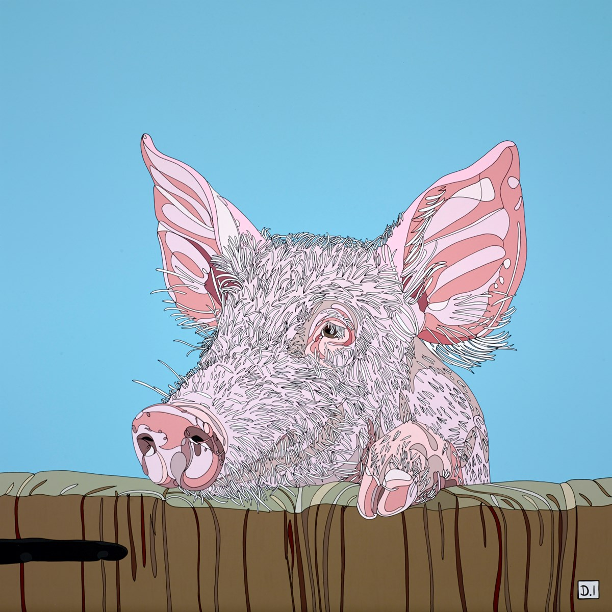 Pig by dylan izaak -  sized 32x32 inches. Available from Whitewall Galleries